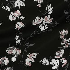 Тонкий хлопковый поплин со светлыми цветами
