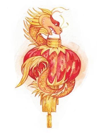 Открытка с китайским драконом (Ольга Тамкович)
