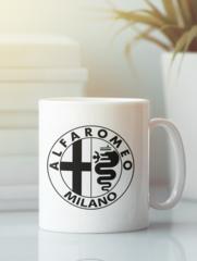Кружка с рисунком Альфа Ромео (Alfa Romeo) белая 004