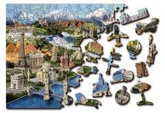 Мировые достопримечательности от Wooden City - Деревянный пазл, исторический, яркий с деталями разных формы. Проработанная картинка с историями разных государств, пазл