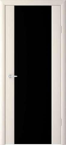Дверь Фрегат Сан Ремо, триплекс чёрное, цвет беленый дуб, остекленная