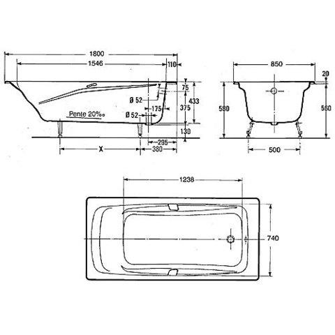 Ванна чугунная Jacob Delafon Repos 180x85 E2903-00 схема