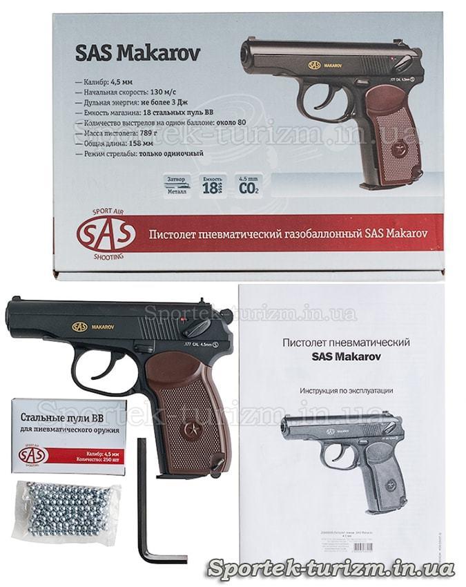 Комплектація і коробка з пневматичним пістолетом Макарова калібру 4,5 мм