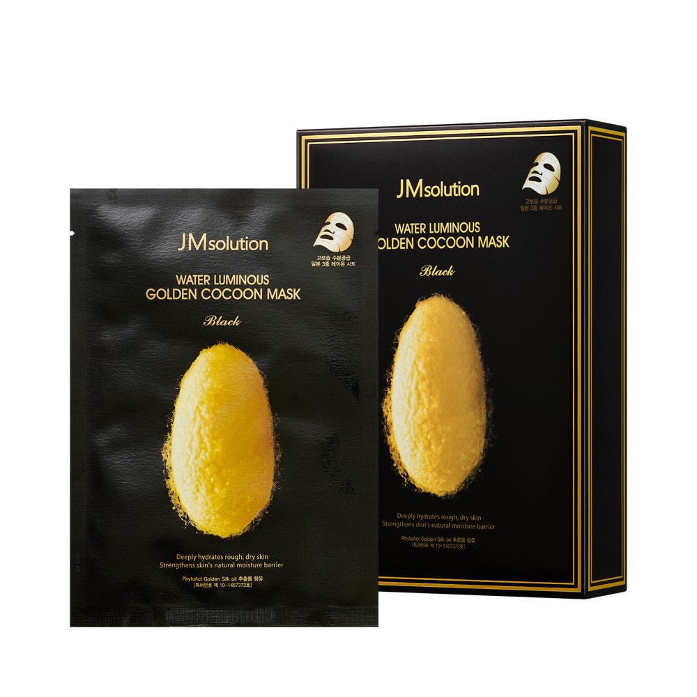 Омолаживающая маска с протеинами кокона золотого шелкопряда WATER LUMINOUS GOLDEN COCOON MASK BLACK, 10 штук