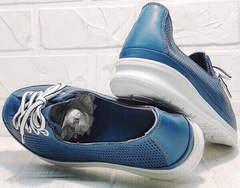 Летние кеды кроссовки для города женские стиль кэжуал Wollen P029-2096-24 Blue White.