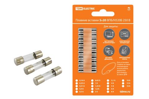 Плавкая вставка ВПТ6-5 0,5А 250В TDM упак (10 шт.)
