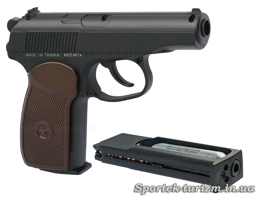 Вид праворуч і споряджений магазин пневматичного пістолета Макарова калібру 4,5 мм