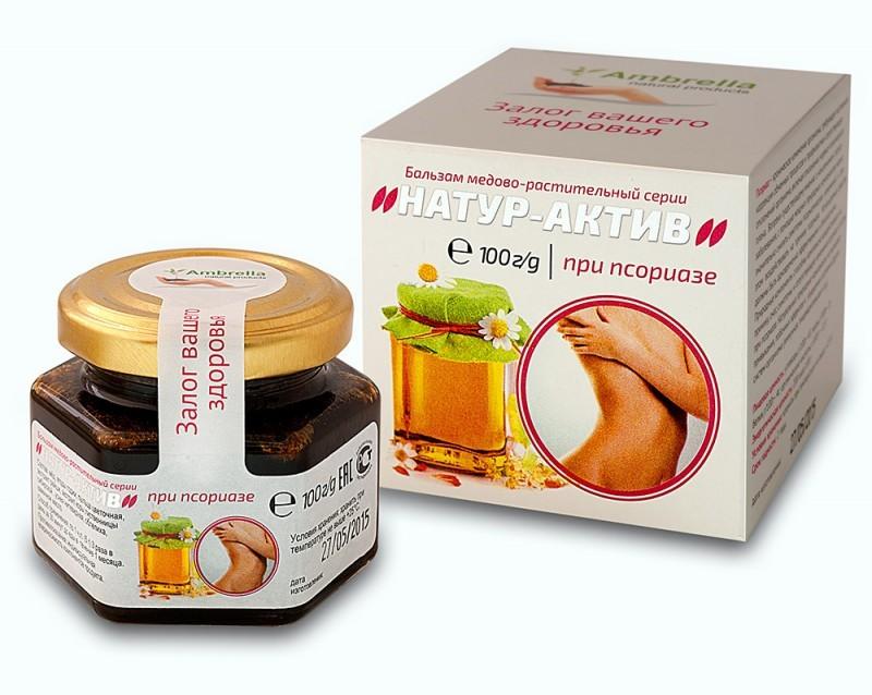 Натур-Актив медово-растительный бальзам при псориазе 100 г.