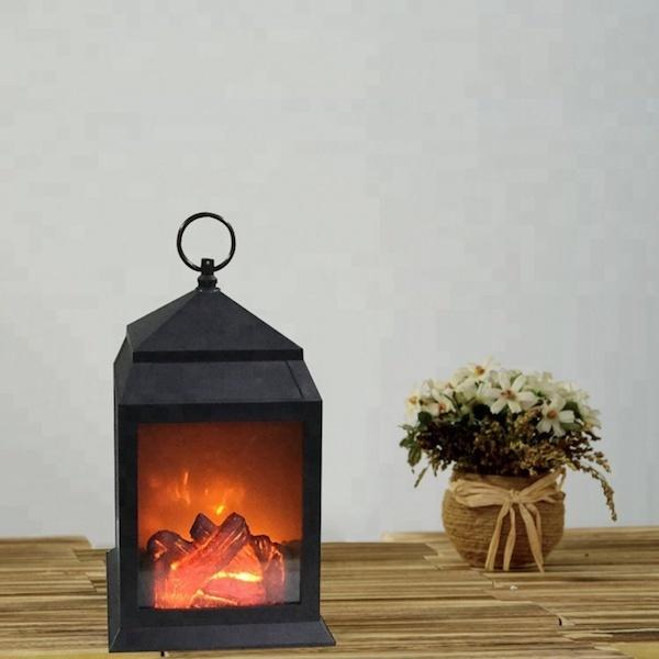Искусственное пламя в винтажном фонаре