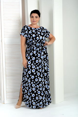 Стелла. Довга сукня великих розмірів. Ромашки