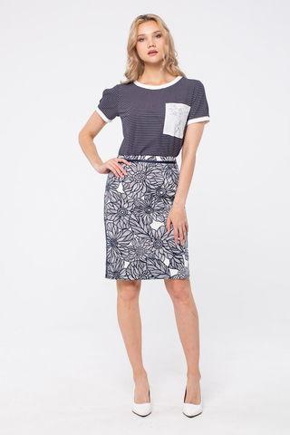 Фото прямая темно-синяя блуза в полоску с коротким рукавом - Блуза Г710б-476 (1)