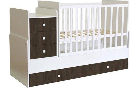Кроватка детская Polini kids Simple 1111 с комодом, белый-трюфель