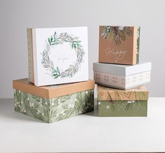 Набор подарочных коробок 5 в 1 «Зимний», 14 × 14 × 8 - 22 × 22 × 12 см, 1 набор.