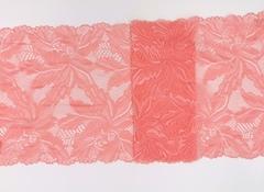 Эластичное кружево, розово-коралловое, 23 см, (Арт: EK-2135), м