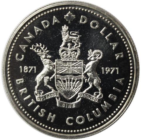 1 доллар. 100 лет присоединению Британской Колумбии. Канада. Серебро. 1971 год. Proof