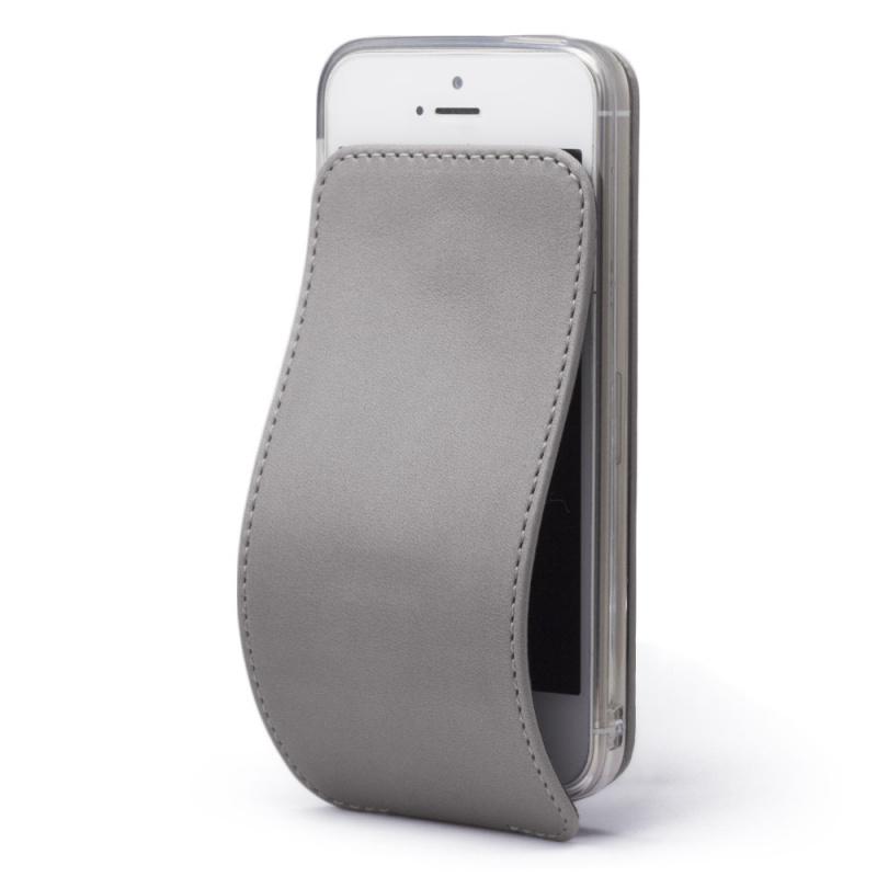 Чехол для iPhone 5S/SE из натуральной кожи теленка, светло-серого цвета