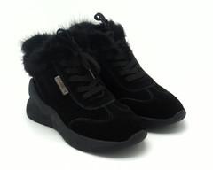 Ботинки зима из натурального велюра на выступающей платформе