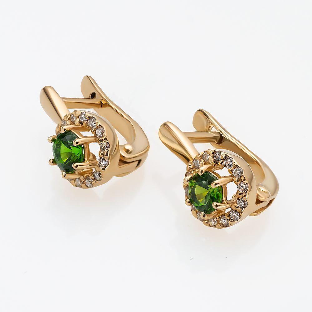 Золотые серьги с бриллиантами и хромдиопсидами