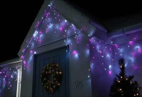 LED занавес гирлянда бахрома сталактиты на фасад перила дома уличные силиконовый провод 5 метров на 0.5 0.7 метров