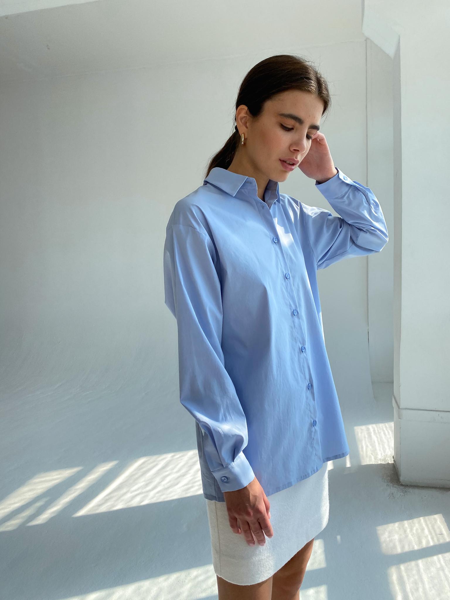 Базовая хлопковая рубашка (голубой)