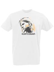 Футболка с принтом Курт Кобейн, Нирвана (Nirvana, Kurt Cobain) белая 0001