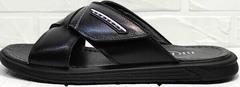 Мужские шлепки сандали мужские кожаные Brionis 155LB-7286 Leather Black.