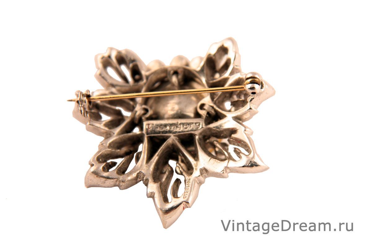 Эффектная серебряная брошь с кристаллами от Eisenberg, 40-е гг.