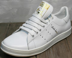 Кожаные кеды женские Adidas Stan Smith White-R A14w15wg