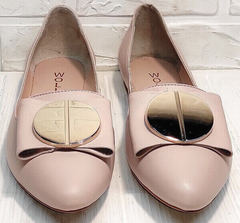 Стильные туфли балетки женские Wollen G192-878-322 Light Pink.