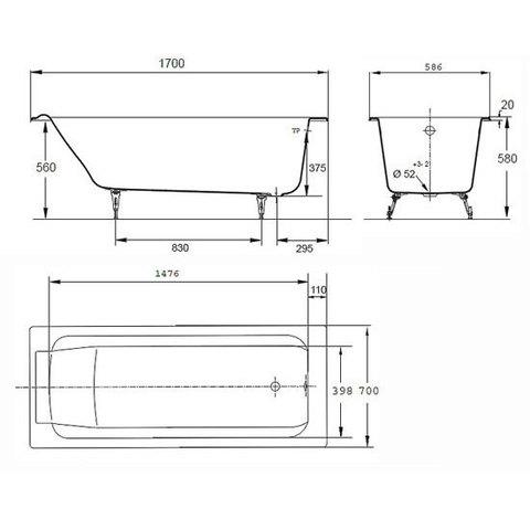 Ванна чугунная Jacob Delafon Parallel 170x70 E2948-00 схема