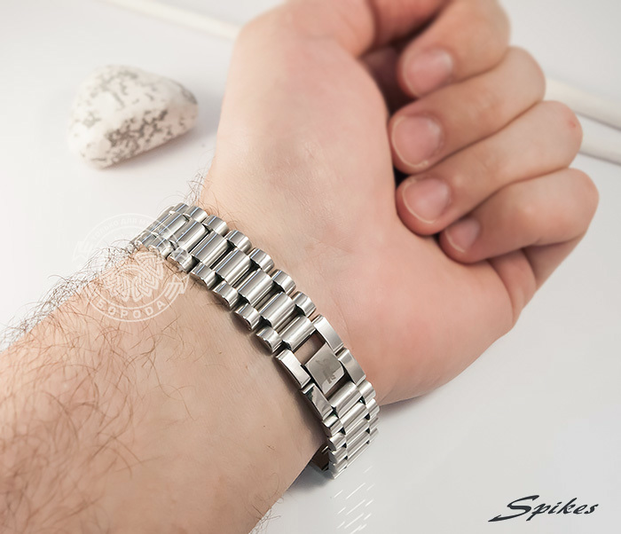 SSBQ-0009-1 Мужcкой браслет из ювелирной стали с пластиной, «Spikes» (21 см) фото 07