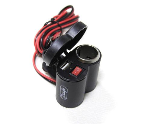 Прикуриватель и USB-разъем с кнопкой включения