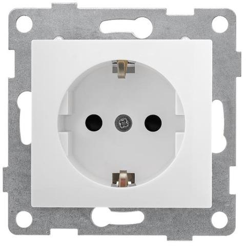 Розетка электрическая 2К+З с заземлением с защитными шторками, 16 А 220/250 В~. Цвет Белый. Bravo GUSI Electric. С10Р4-001