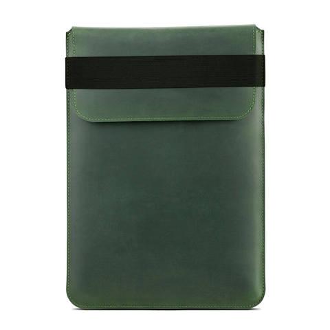 Зеленый вертикальный кожаный чехол Gmakin для MacBook