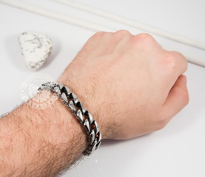 BM387 Стильный мужской браслет из стали с гравировкой на звеньях (21 см) фото 03