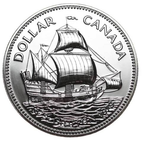 "1 доллар. 300 лет кораблю ""Грифон"". Канада. Серебро. 1979 г. BrUNC"