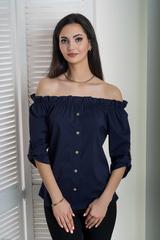 Міка. Молодіжна оригінальна літня блуза. Синій