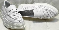 Легкие кроссовки лоферы женские натуральная кожа Derem 372-17 All White.