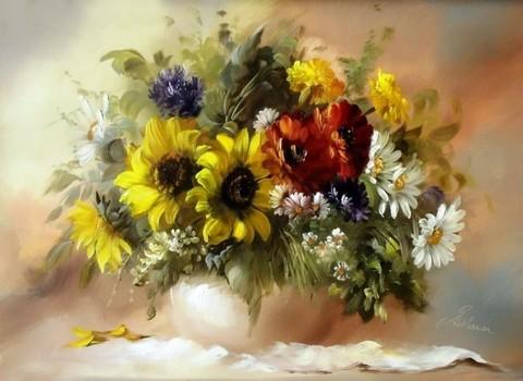 Алмазная Мозаика 40x50 Букет полевых цветов в белой вазе (арт. GA73384)