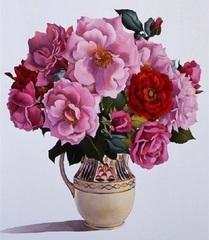 Картина раскраска по номерам 30x40 Букет красных и розовых цветов в вазе