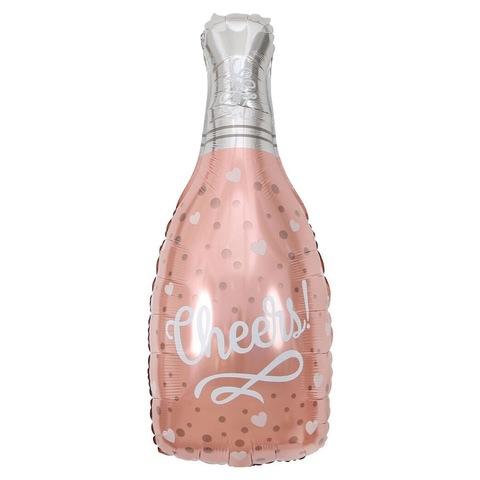 Воздушный шар с гелием Бутылка шампанского, Конфетти сердец, розовое золото, 89 см