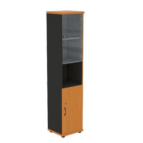 Шкаф узкий высокий со стеклянными дверцами R5W12 МОНО-ЛЮКС