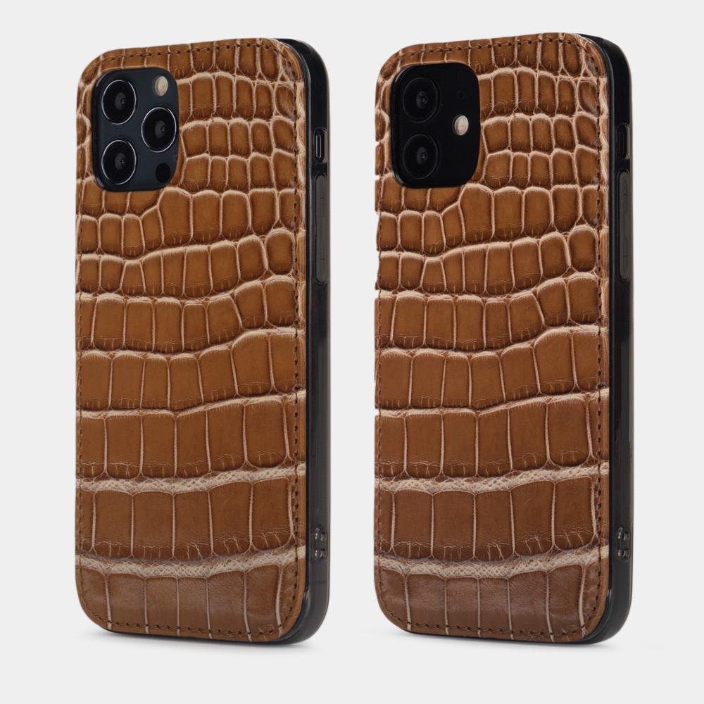 Special order: Чехол-накладка для iPhone 12/12Pro из натуральной кожи крокодила, цвета карамель лак