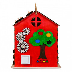 Большой Яркий Чудесный  Бизиборд дом со светом.( 4 фигурки животных в подарок) Размер 30 30 40 см.