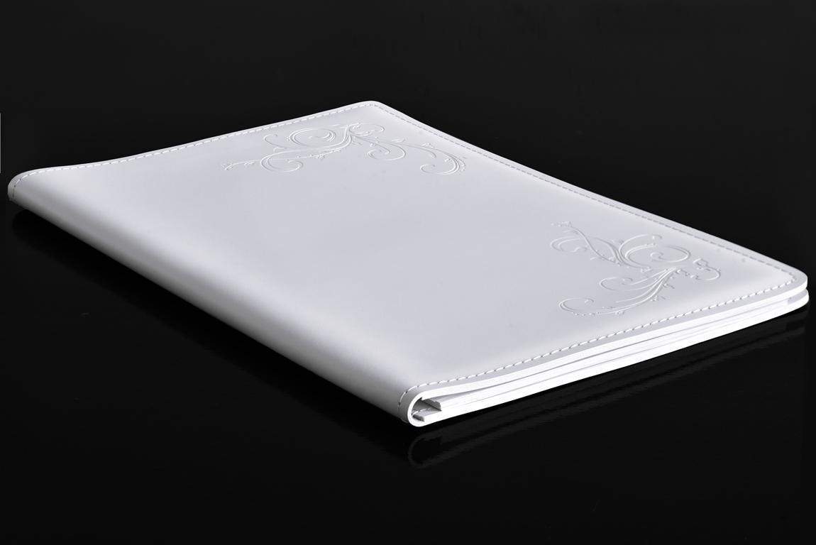 белая папка под блокнот А4 из кожи