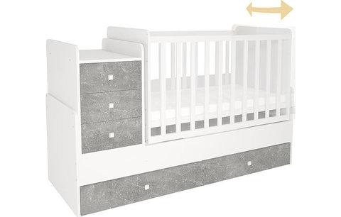 Кроватка детская Polini kids Simple 1111 с комодом, бетон-белый