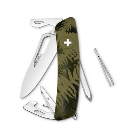 Швейцарский нож SWIZA SH04 R Camouflage, 95 мм, 12 функций, камо зеленый