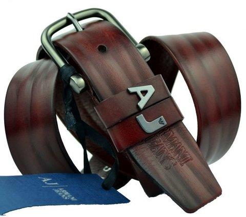 Мужской коричневый ремень Armani 3002 из кожи буйвола