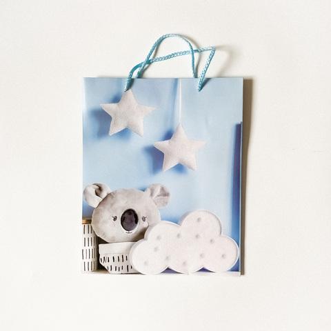 Подарочный пакетик Голубой с блёстками
