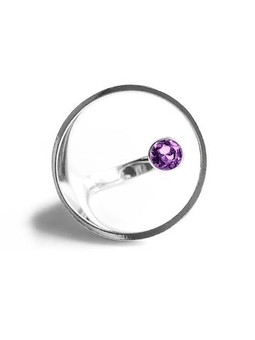 Серебряное кольцо круг с аметистом